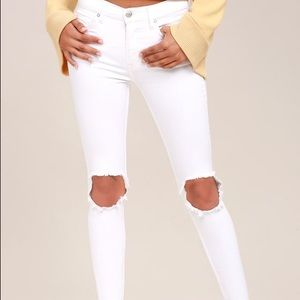 Free people High Rise Busted White Distressed Jean